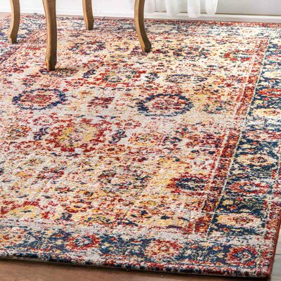 Quinton Red/Yellow Area Rug Rug Size: 76 x 96