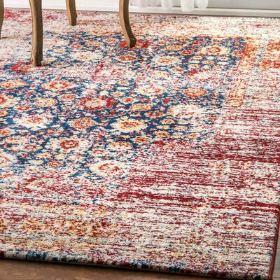 Isaias Red/Blue Area Rug Rug Size: 76 x 96