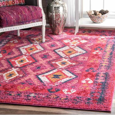 Burd Pink Area Rug Rug Size: Rectangle 9 x 12