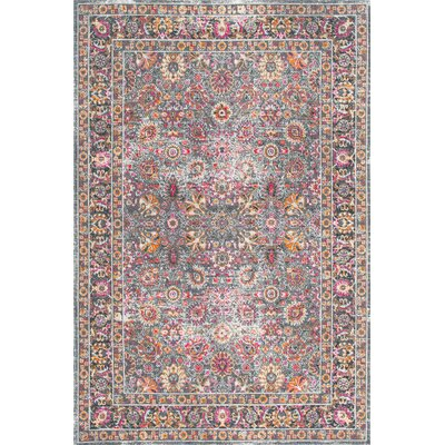 Khalil Pink/Gray Area Rug Rug Size: 8 x 10