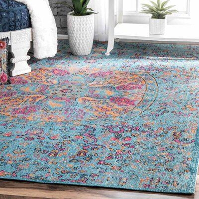 Maverick Aqua Area Rug Rug Size: Rectangle 5 x 75