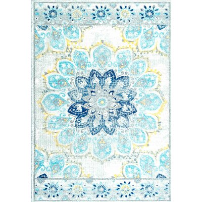 Fonteyne Blue Area Rug Rug Size: Rectangle 4 x 6