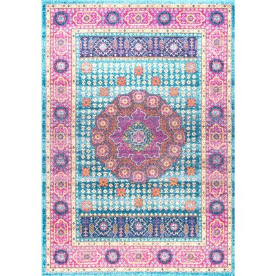 Nasir Aqua Area Rug Rug Size: Rectangle 5 x 75