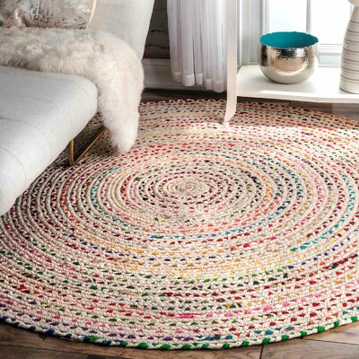 Giovani Hand-Braided Ivory Area Rug Rug Size: Round 6