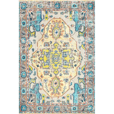 Kendrick Gray/Beige Area Rug Rug Size: Rectangle 53 x 77