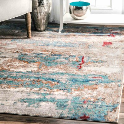 Abram Blue Area Rug Rug Size: Rectangle 53 x 77