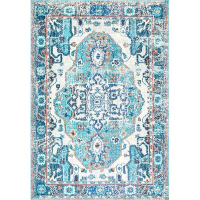 Ahmed Blue Area Rug Rug Size: Rectangle 4 x 6
