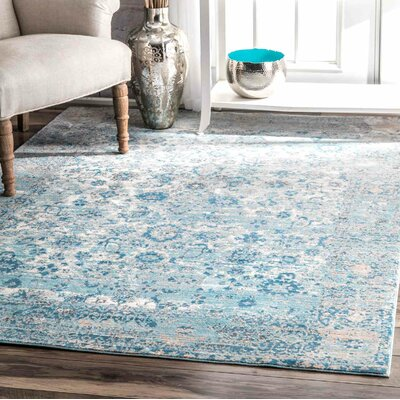 Nathanael Aqua Area Rug Rug Size: Rectangle 710 x 1010