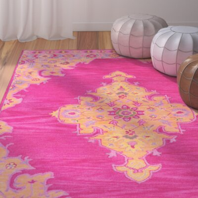 Isai Hand-Tufted Pink Area Rug Rug Size: 76 x 96