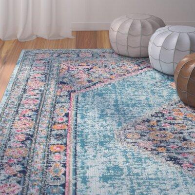 Babita Blue/Pink Area Rug Rug Size: 5 x 75