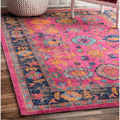 Ayush Pink Area Rug Rug Size: Rectangle 5 x 75