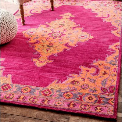 Isai Hand-Tufted Pink Area Rug Rug Size: Rectangle 76 x 96
