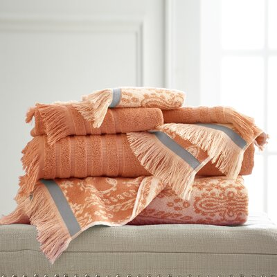 6 Piece Cotton Towel Set Color: Coral