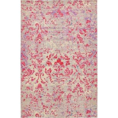 Aquarius Red/Beige Area Rug Rug Size: 106 x 165