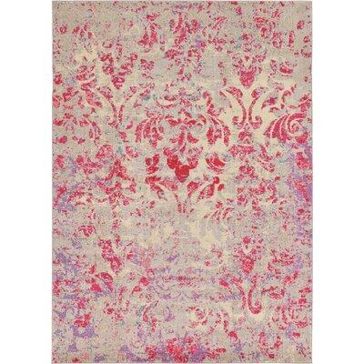 Aquarius Red/Beige Area Rug Rug Size: 7 x 10