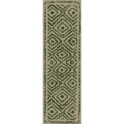 Sala Spruce Green/Beige Area Rug Rug Size: Runner 26 x 8