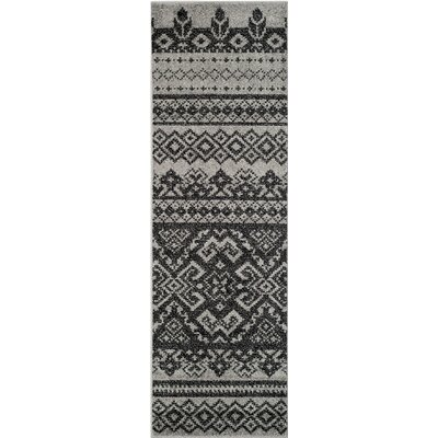 Gatineau Silver/Black Area Rug Rug Size: Rectangle 26 X 16