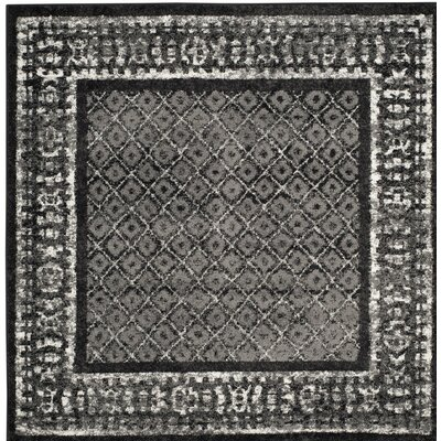 Norwell Black/Gray Area Rug Rug Size: Square 4