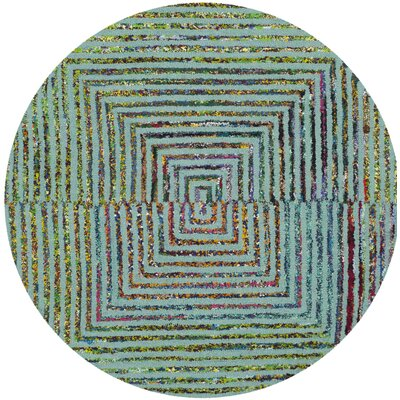 Sunshine Hand Tufted Green/Pink Area Rug Rug Size: Round 6