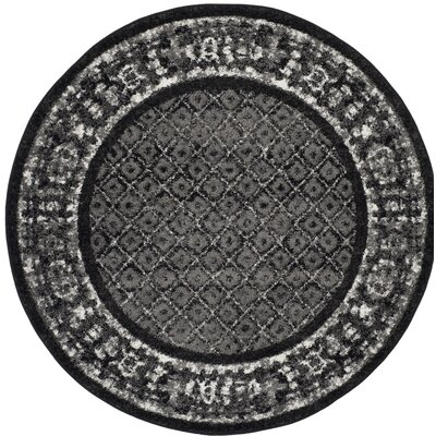 Norwell Black/Gray Area Rug Rug Size: Round 4