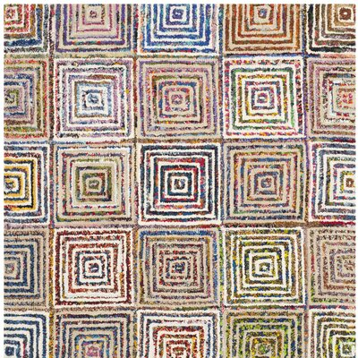 Genemuiden Hand Tufted Blue/Green/Orange Area Rug Rug Size: Square 6