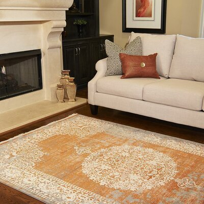 Colebrook Orange Area Rug Rug Size: 5 x 8