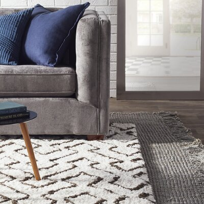 Windom Hand-Woven Gray Area Rug Rug Size: Rectangle 5 x 76