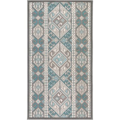 Septfontaines Teal/Beige Area Rug Rug Size: Rectangle 28 x 5