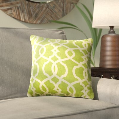 Brennan Damask Throw Pillow Size: 16.5 H x 16.5 W x 5 D, Color: Green / Beige
