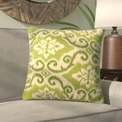 Quaria Throw Pillow Color: Green Ikat