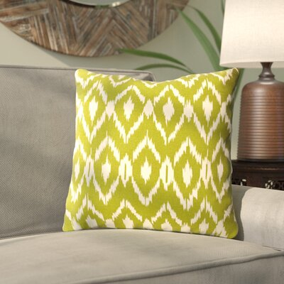Harrell Ikat Cotton Throw Pillow Color: Green