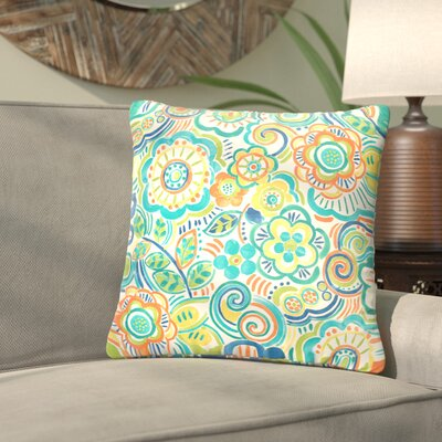 Lucie Outdoor Throw Pillow Size: 18 H x 18 W, Color: Turquoise / Orange