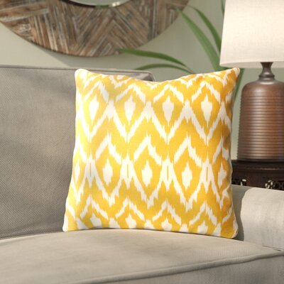 Harrell Ikat Cotton Throw Pillow Color: Mustard