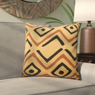 Kreta Linen Throw Pillow Size: 22 H x 22 W x 5 D, Color: Beige/Rust/Black