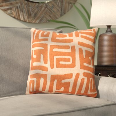 Kreta Linen Throw Pillow Color: Rust/Beige, Size: 20
