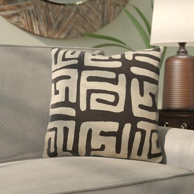 Kreta Linen Throw Pillow Size: 18 H x 18 W x 4 D, Color: Light Gray/Black