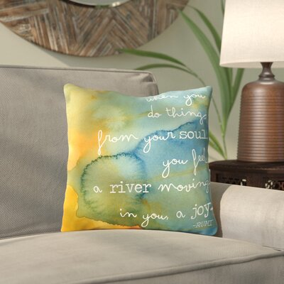 Amy Brinkman Rumi Watercolor Soul River Throw Pillow Size: 16 H x 16 W x 2 D