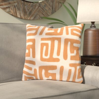 Kreta Linen Throw Pillow Size: 18 H x 18 W x 4 D, Color: Rust/Beige