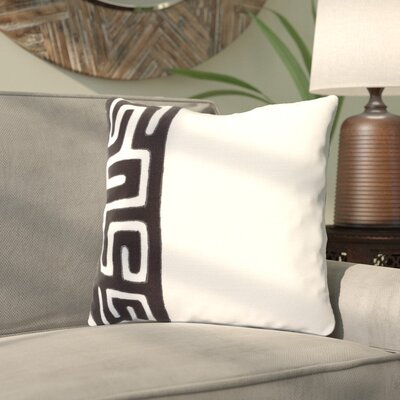 Kreta Linen Throw Pillow Size: 18 H x 18 W x 4 D, Color: Black/Ivory