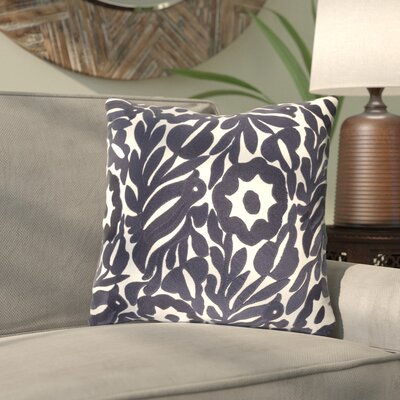 Ginger Floral Cotton Throw Pillow Size: 18 H x 18 W x 4 D, Color: Cream/Navy
