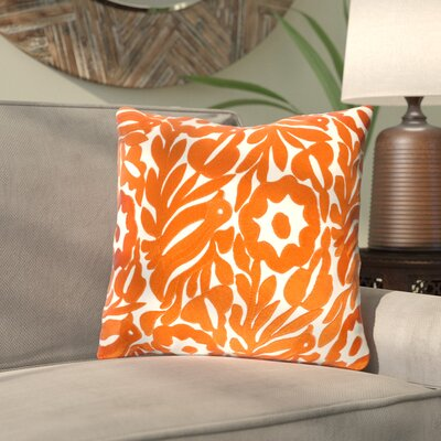 Ginger Floral Cotton Throw Pillow Size: 18 H x 18 W x 4 D, Color: Cream/Burnt Orange