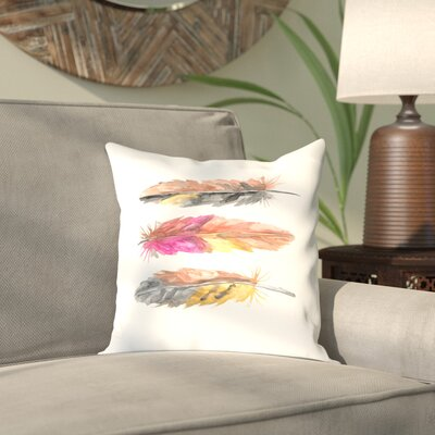 Malhotra Tri Feather 2 Outdoor Throw Pillow Size: 16 H x 16 W x 2 D