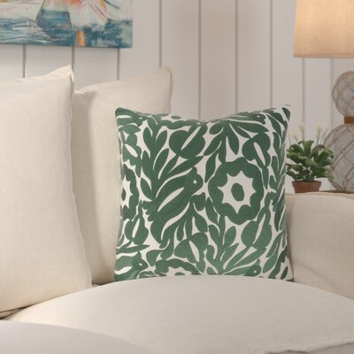 Ginger Cotton Throw Pillow Size: 18 H x 18 W x 4 D, Color: Cream/Dark Green