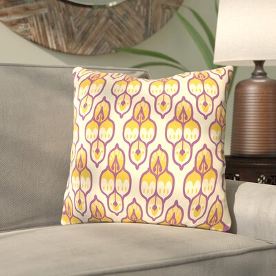 Amann Turkish Cara Kozik Throw Pillow Size: 14 H x 14 W x 2 D, Color: Yellow/Purple