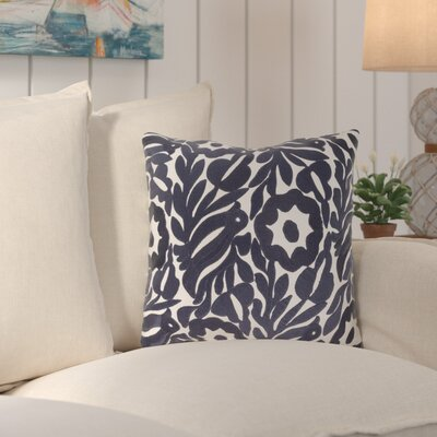 Ginger Cotton Throw Pillow Size: 18 H x 18 W x 4 D, Color: Cream/Navy
