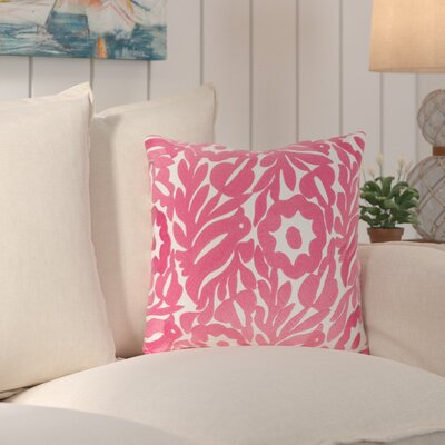 Ginger Cotton Throw Pillow Size: 18 H x 18 W x 4 D, Color: Cream/Bright Pink
