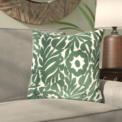 Ginger Floral Cotton Throw Pillow Size: 18 H x 18 W x 4 D, Color: Cream/Dark Green