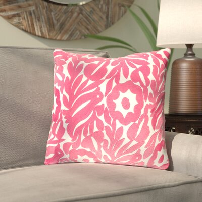 Ginger Floral Cotton Throw Pillow Size: 22 H x 22 W x 4 D, Color: Cream/Bright Pink