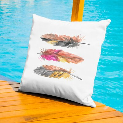 Malhotra Tri Feather 2 Outdoor Throw Pillow Size: 20 H x 20 W x 2 D