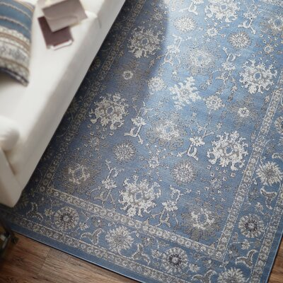 Denmark Blue/Gray Area Rug Rug Size: Rectangle 28 x 5